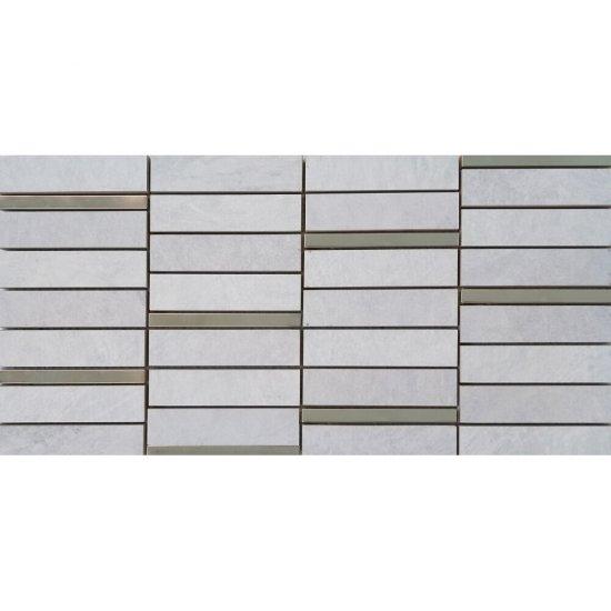Gres szkliwiony YAKARA biały mozaika prostokąty steel mat 22,2x44,6 gat. I