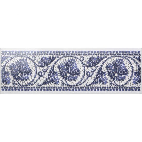 Płytka ścienna KORYNT niebieska listwa błyszcząca 8x25 gat. I