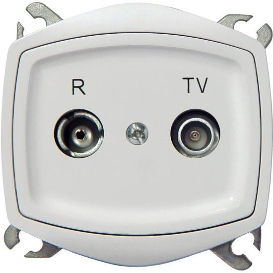 Gniazdo RTV modułowe TON COLOR SYSTEM przelotowe GAP-16 dB biały Ospel