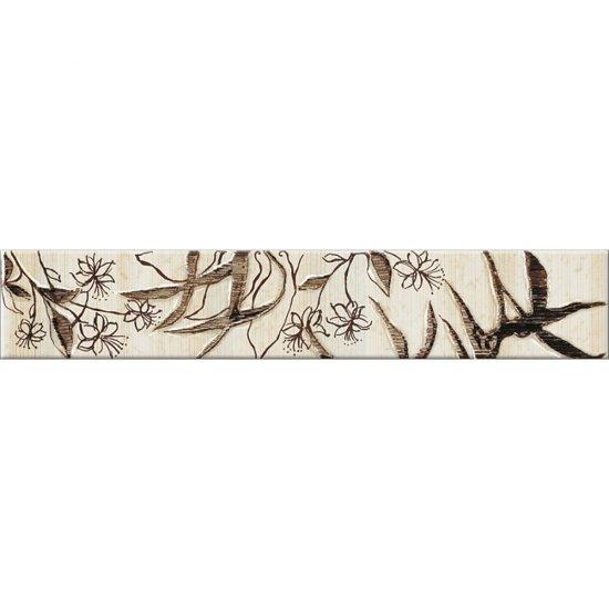 Płytka ścienna ALEKSANDRIA kremowa listwa kwiaty mat 5,4x30 gat. I