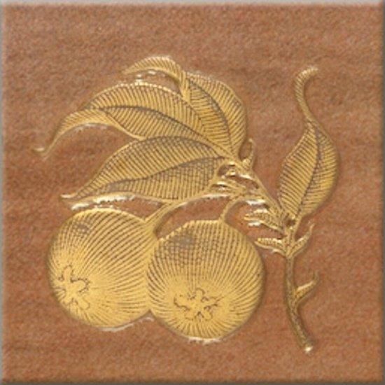 Gres szkliwiony REAL COTTO brązowy inserto owoce 3 mat 10,9x10,9 gat. I