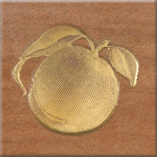 Gres szkliwiony REAL COTTO brązowy inserto owoce 1 mat 10,9x10,9 gat. I