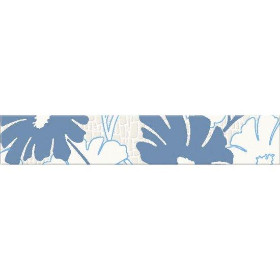 Płytka ścienna POLINESIA niebieska listwa kwiaty mat 5,4x30 gat. I