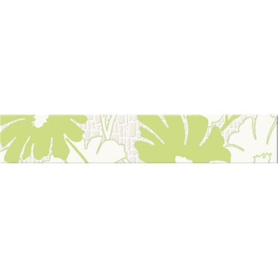 Płytka ścienna POLINESIA zielona listwa kwiaty mat 5,4x30 gat. I