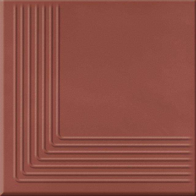 Klinkier LOFT czerwony stopnica narożna mat 30x30 gat. I