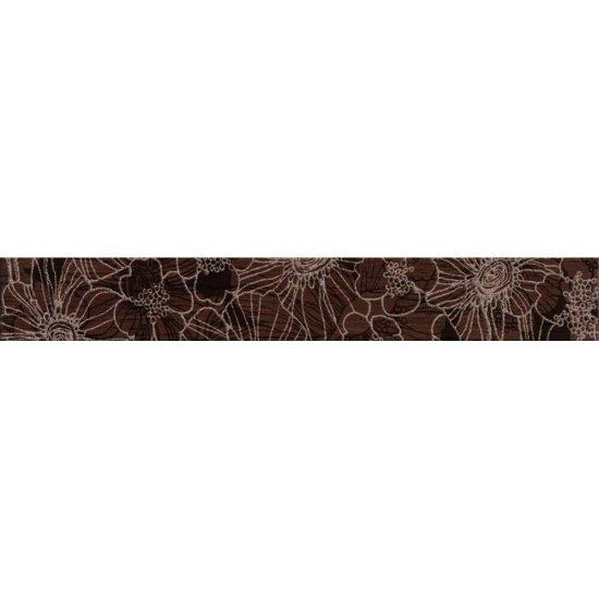 Płytka ścienna FLORES brązowa listwa kwiaty błyszcząca 5x35 gat. I
