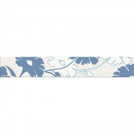 Płytka ścienna POLINESIA niebieska listwa kwiaty mat 7x45 gat. I