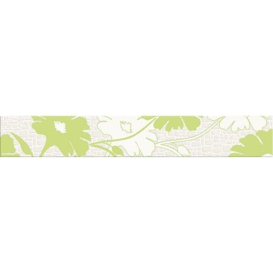 Płytka ścienna POLINESIA zielona listwa kwiaty mat 7x45 gat. I