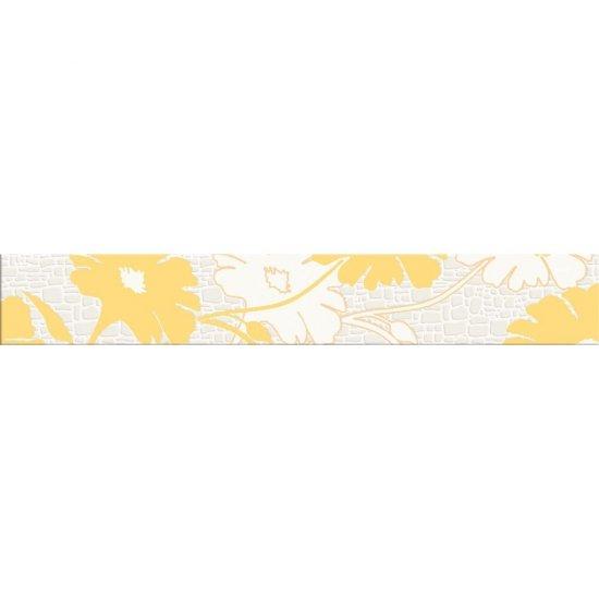 Płytka ścienna POLINESIA żółta listwa kwiaty mat 7x45 gat. I