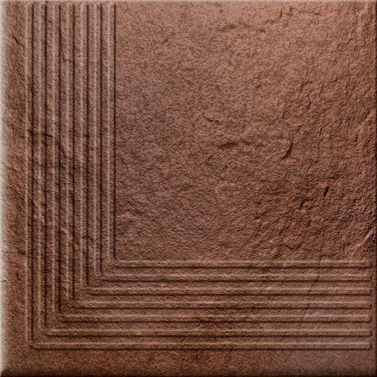Klinkier SOLAR brązowy stopnica narożna struktura połysk 30x30 gat. I