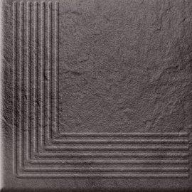 Klinkier SOLAR grafitowy stopnica narożna 3-D połysk 30x30 gat. I