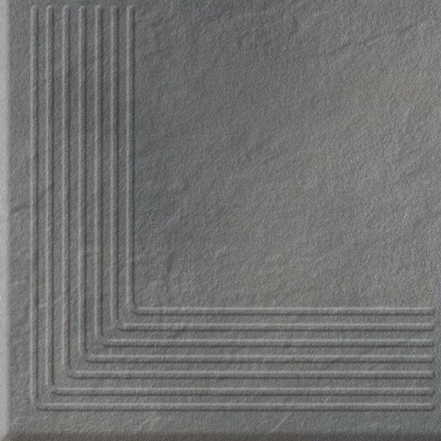 Klinkier SOLAR szary stopnica narożna struktura połysk 30x30 gat. I