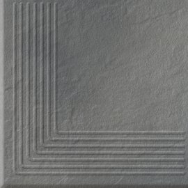 Klinkier SOLAR szary stopnica narożna 3-D połysk 30x30 gat. I