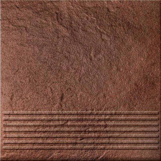 Klinkier SOLAR brązowy stopnica struktura połysk 30x30 gat. I