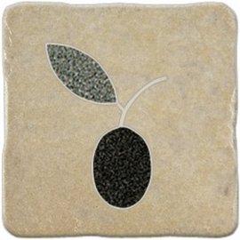 Gres szkliwiony REAL STONE kremowy inserto oliwka mat 10,9x10,9 gat. I
