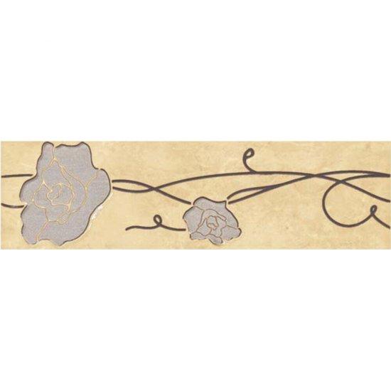 Płytka ścienna TESALIA beżowa listwa kwiaty błyszcząca 9,3x30 gat. I