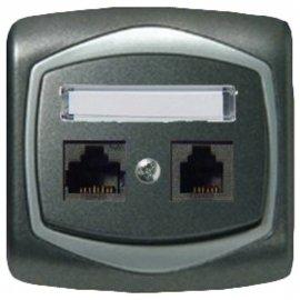 Gniazdo ścienne TON METALIC komp-telef. RJ45/RJ11 kat.5e KRONE grafit srebro Ospel
