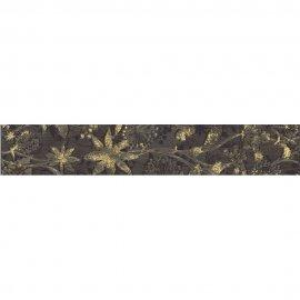 Płytka ścienna TRAWERTINO brązowa listwa kwiatek błyszcząca 4,8x45 gat. I