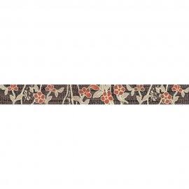 Płytka ścienna SYMFONIA brązowa listwa kwiatek błyszcząca 4,8x45 gat. I