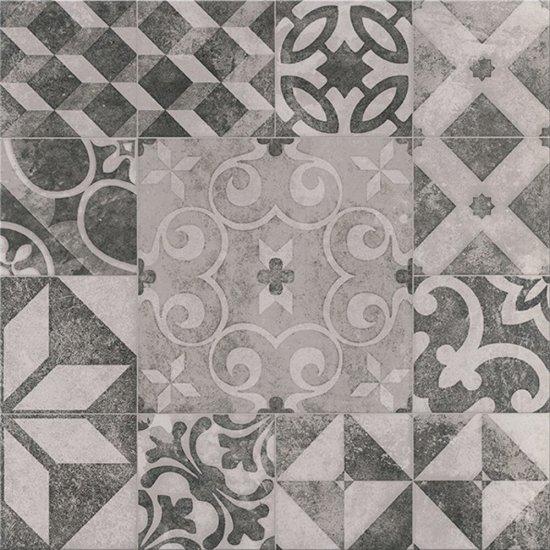 Gres szkliwiony GRAFF biało-szary patchwork mat 42x42 gat. II