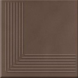 Klinkier LOFT brązowy stopnica narożna mat 30x30 gat. II