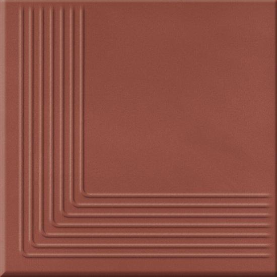 Klinkier LOFT czerwony stopnica narożna mat 30x30 gat. II
