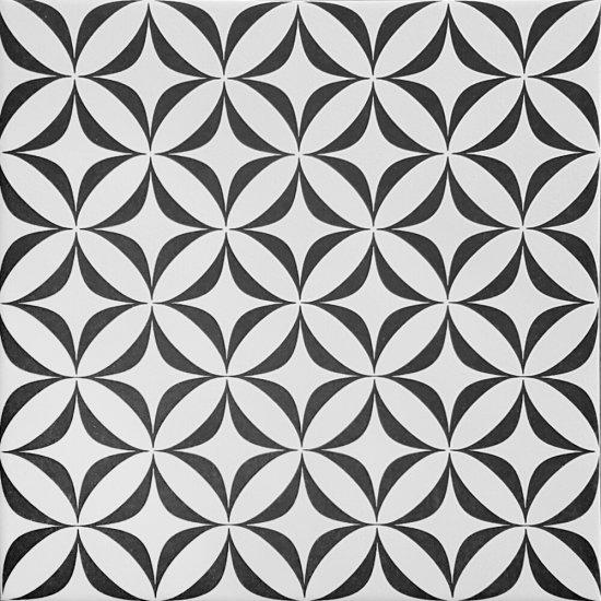 Gres szkliwiony PATCHWORK CONCEPT biało-czarny vertigo satyna 29,8x29,8 gat. I