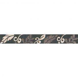 Płytka ścienna VALENTINA grafitowa listwa kwiaty mat 3,5x29 gat. I