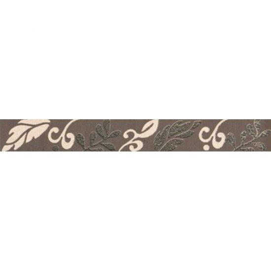 Płytka ścienna VALENTINA brązowa listwa kwiaty mat 3,5x29 gat. I