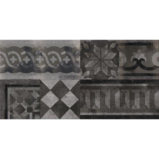 Gres szkliwiony ITALIAN FRESCO grafitowy dekor mat 29,7x59,8 gat. I