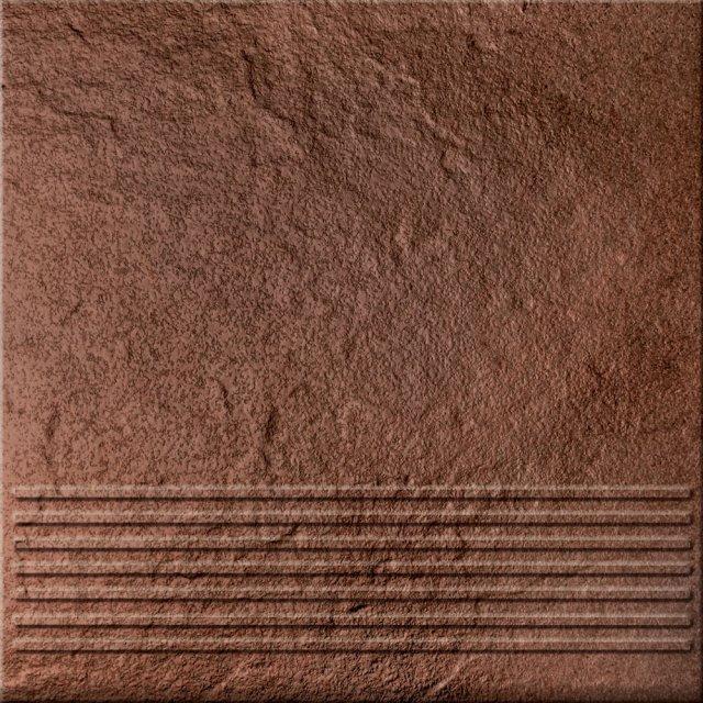 Klinkier SOLAR brązowy stopnica 3-D połysk 30x30 gat. II