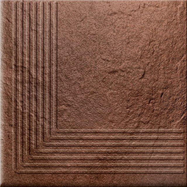 Klinkier SOLAR brązowy stopnica narożna struktura połysk 30x30 gat. II