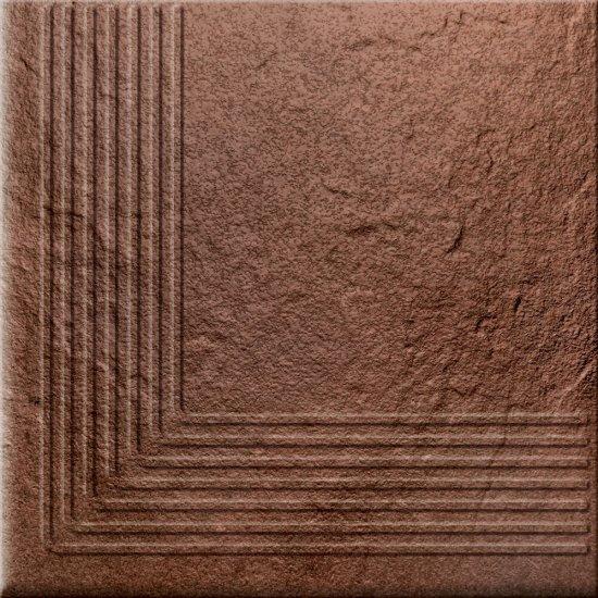 Klinkier SOLAR brązowy stopnica narożna 3-D połysk 30x30 gat. II