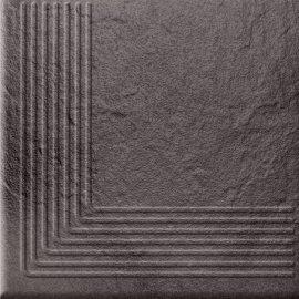 Klinkier SOLAR grafitowy stopnica narożna struktura połysk 30x30 gat. II
