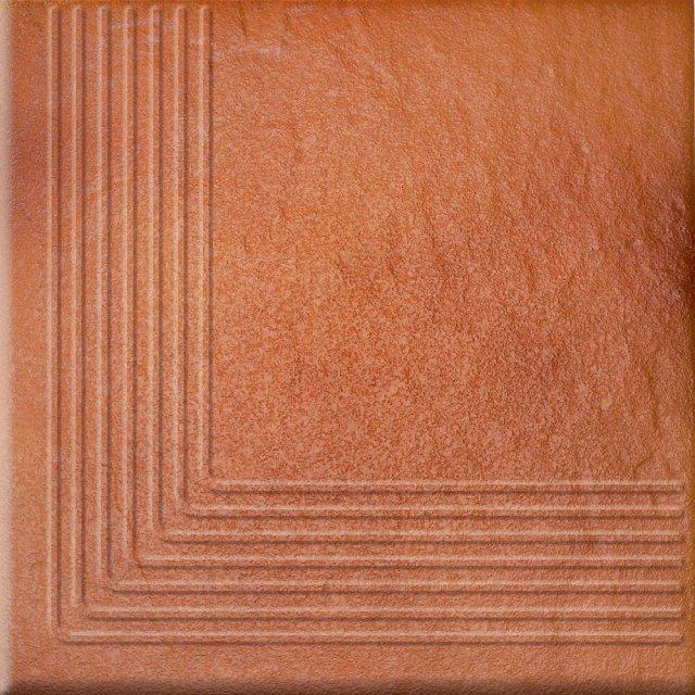 Klinkier SOLAR pomarańczowy stopnica narożna struktura połysk 30x30 gat. II
