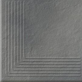 Klinkier SOLAR szary stopnica narożna 3-D połysk 30x30 gat. II