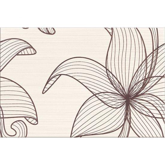 Płytka ścienna LORENA kremowa inserto brązowe kwiaty B błyszcząca 30x45 gat. I