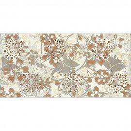 Płytka ścienna LINERO szara inserto kwiaty błyszcząca 29x59,3 gat. I*