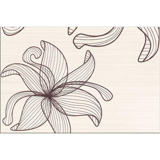 Płytka ścienna LORENA kremowa inserto brązowe kwiaty C błyszcząca 30x45 gat. I