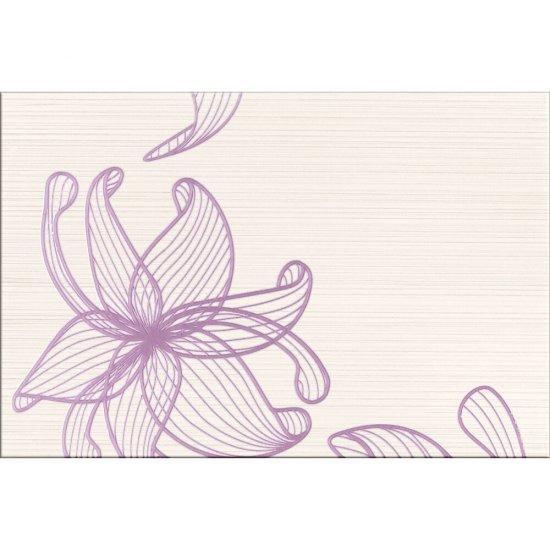 Płytka ścienna LORENA kremowa inserto fioletowe kwiaty A błyszcząca 30x45 gat. I