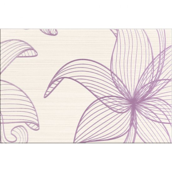 Płytka ścienna LORENA kremowa inserto fioletowe kwiaty B błyszcząca 30x45 gat. I