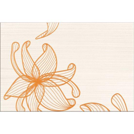 Płytka ścienna LORENA kremowa inserto pomarańczowe kwiaty A błyszcząca 30x45 gat. I