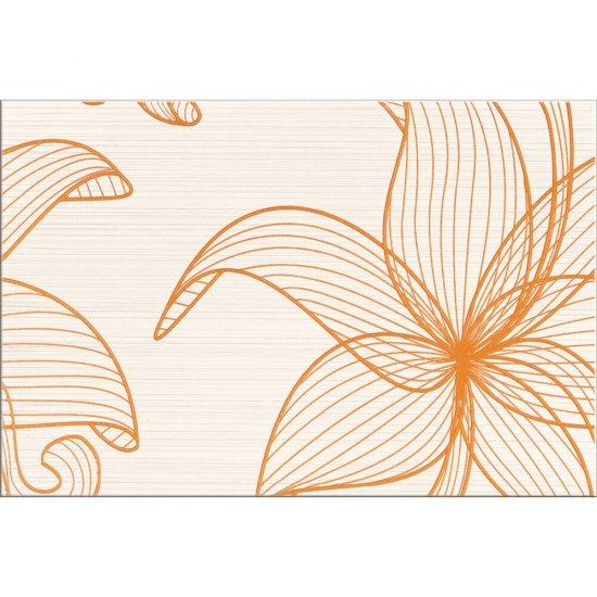 Płytka ścienna LORENA kremowa inserto pomarańczowe kwiaty B błyszcząca 30x45 gat. I