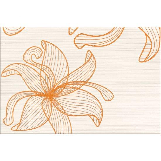 Płytka ścienna LORENA kremowa inserto pomarańczowe kwiaty C błyszcząca 30x45 gat. I