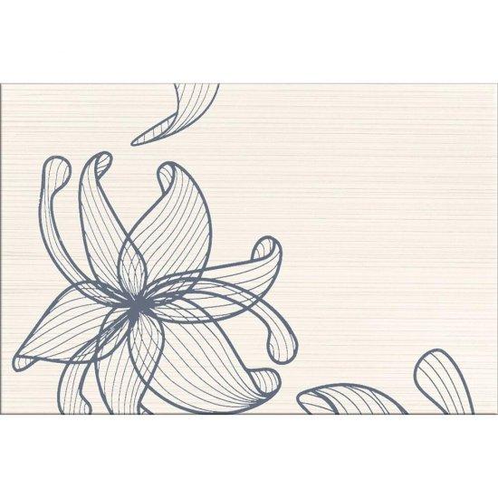 Płytka ścienna LORENA kremowa inserto szare kwiaty A błyszcząca 30x45 gat. I