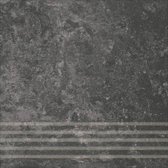 Gres zdobiony CALABRIA czarny stopnica mat 29,55x29,55 gat. I