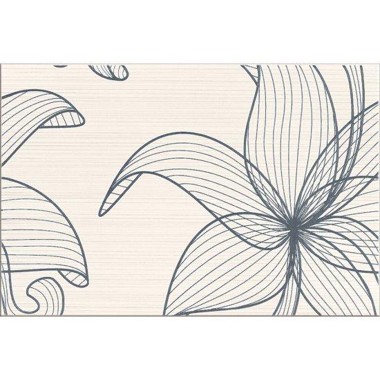 Płytka ścienna LORENA kremowa inserto szare kwiaty B błyszcząca 30x45 gat. I