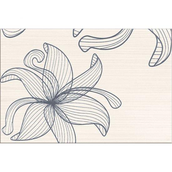 Płytka ścienna LORENA kremowa inserto szare kwiaty C błyszcząca 30x45 gat. I