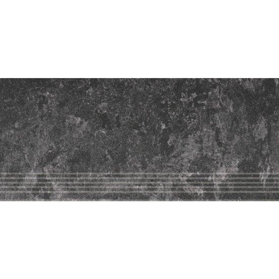 Gres zdobiony CALABRIA czarny stopnica mat 29,55x59,4 gat. I