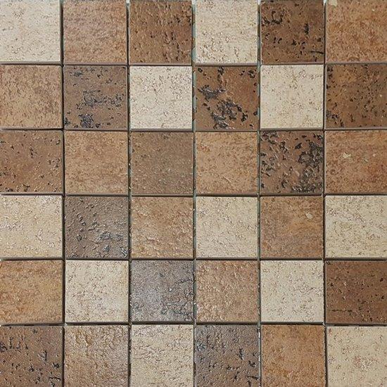 Gres szkliwiony ETRUSCO brązowy mozaika kwadraty mat 29,7x29,7 gat. I